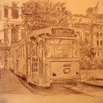 Stefano Manni (di Torre Maina) - giornate milanesi, il tram n. 9, pastelli misti su carta spolvero, cm. 30 x 40, collezione F.R.